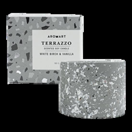 Picture of Aromart Terrazzo 180g Candle White Birch and Vanilla