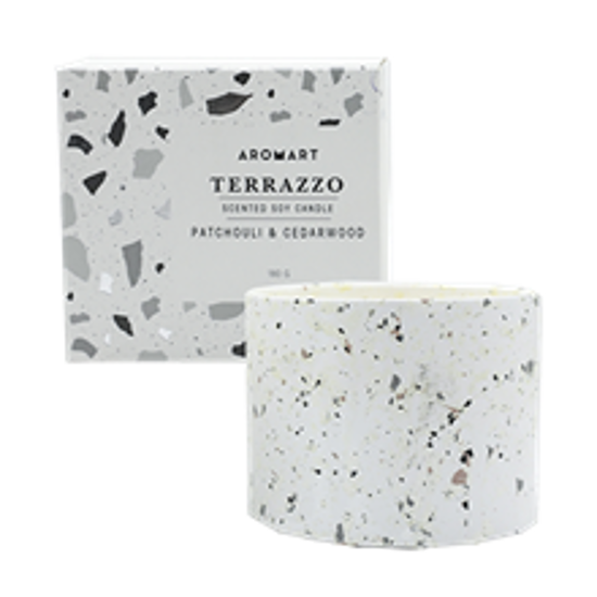 Picture of Aromart Terrazzo 180g Patchouli & Cedarwood Candle
