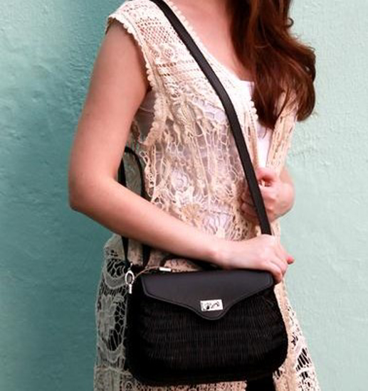 Picture of ISABELLA RATTAN BAG  BLACK