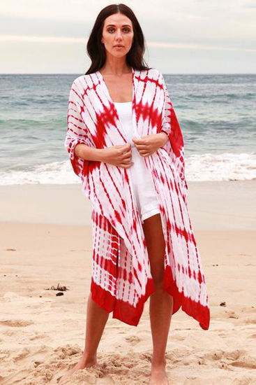 Picture of ISABELLA TIE DYE COVER UP RED