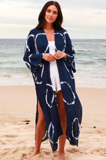 Picture of ISABELLA TIE DYE COVER UP NAVY