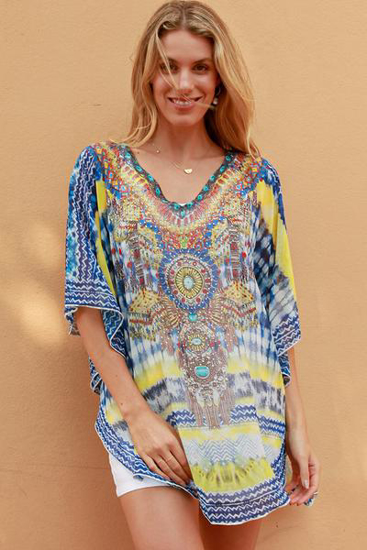 Picture of ISABELLA KAFTAN YELLOW/BLUE EMBELLISHED