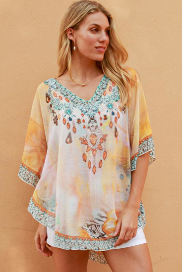 Picture of ISABELLA KAFTAN YELLOW EMBELLISHED