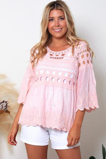 Picture of ISABELLA BABY PINK LACE TOP