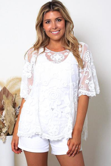 Picture of ISABELLA WHITE LACE LONG TOP